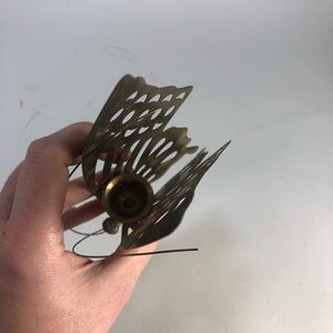 "Vintage Accents - Vintage brass butterfly candle holder 6.5"" tall"
